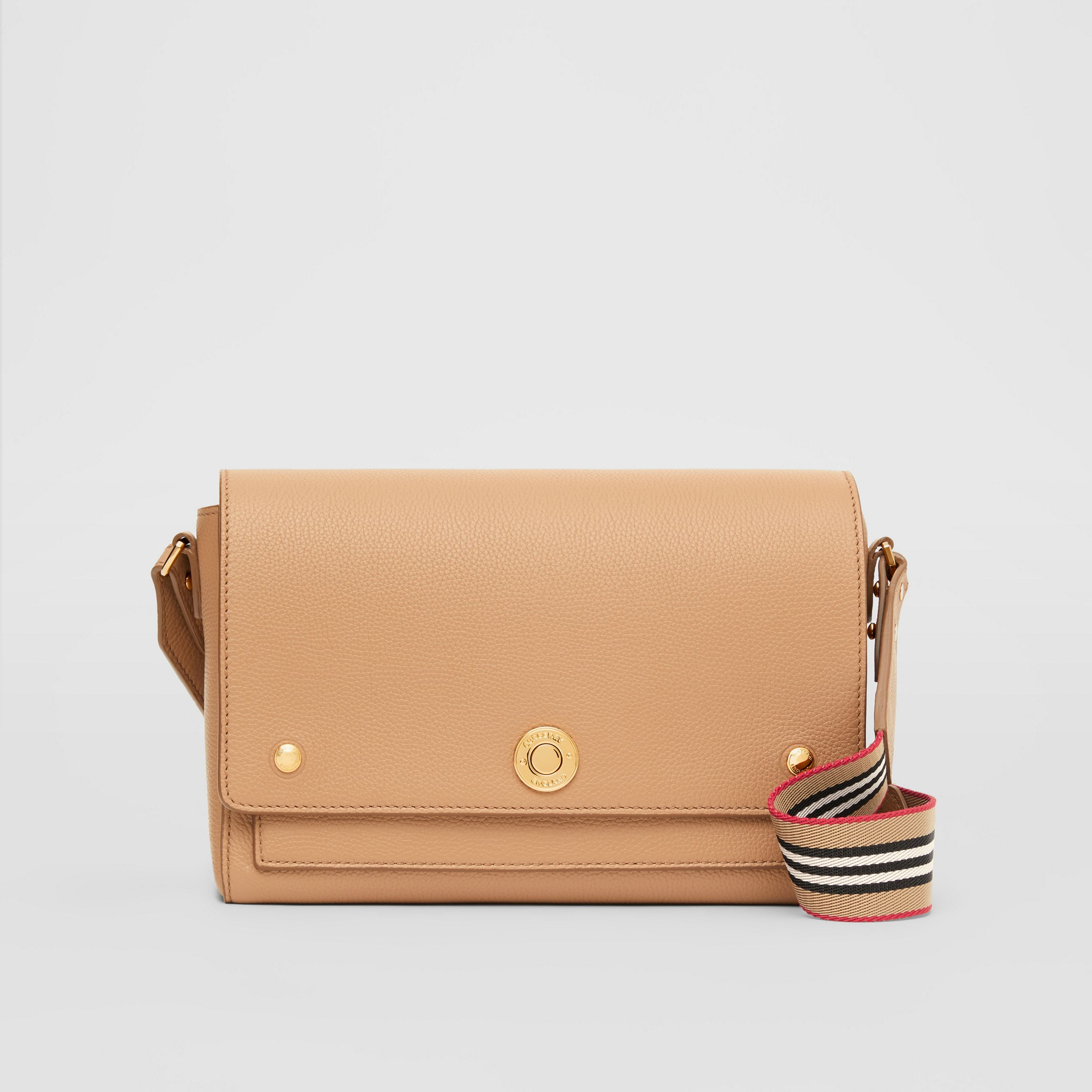 Grainy Leather Note Crossbody Bag in Camel - Women | Burberry - 1