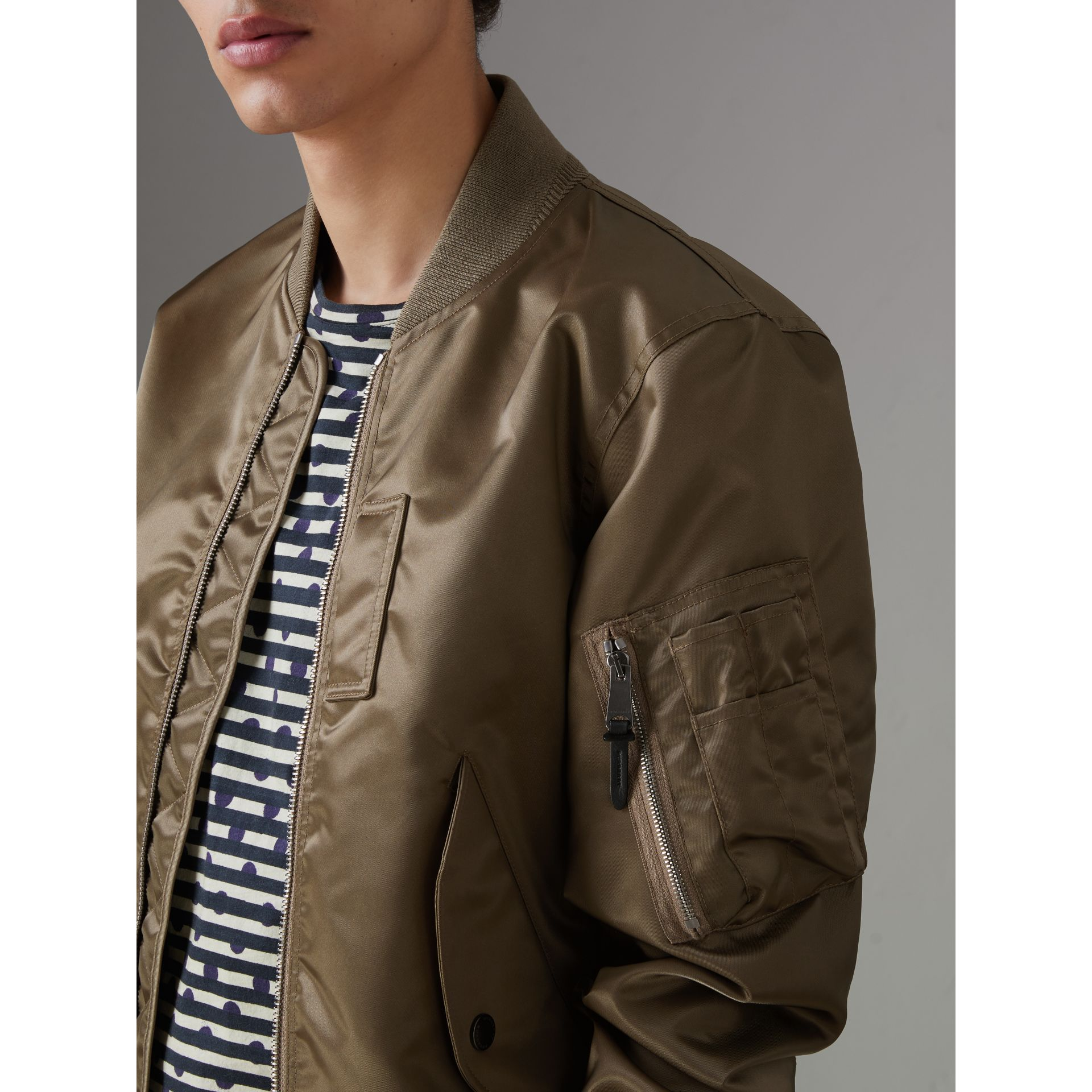 Satin Bomber Jacket in Dark Taupe - Men | Burberry - gallery image 1