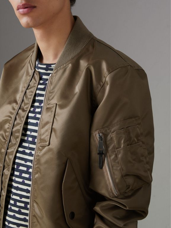 Satin Bomber Jacket in Dark Taupe - Men | Burberry United States - cell image 1