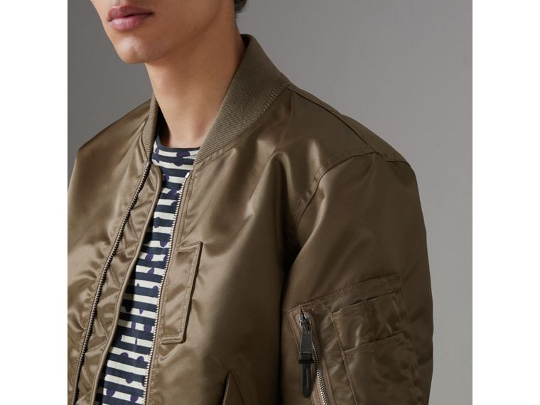 Satin Bomber Jacket in Dark Taupe - Men | Burberry - cell image 1
