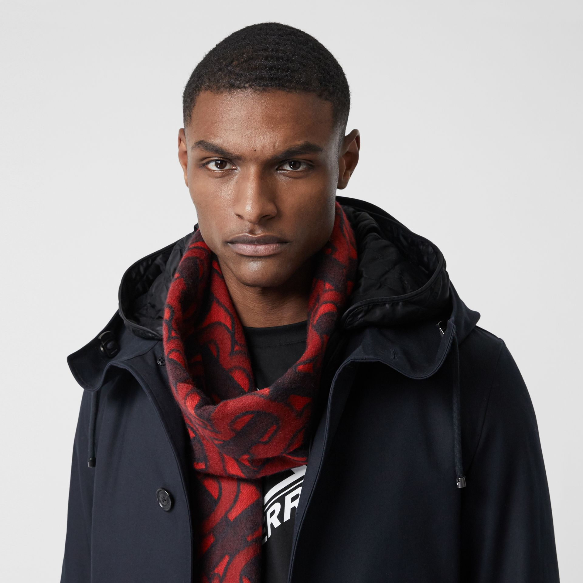 Monogram Cashmere Jacquard Scarf in Crimson | Burberry United Kingdom - gallery image 3