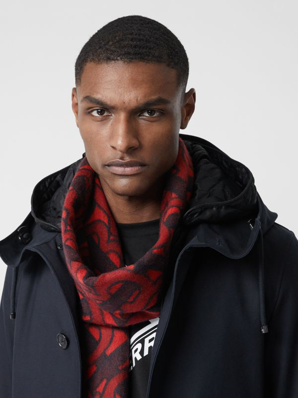 Monogram Cashmere Jacquard Scarf in Crimson | Burberry - cell image 3
