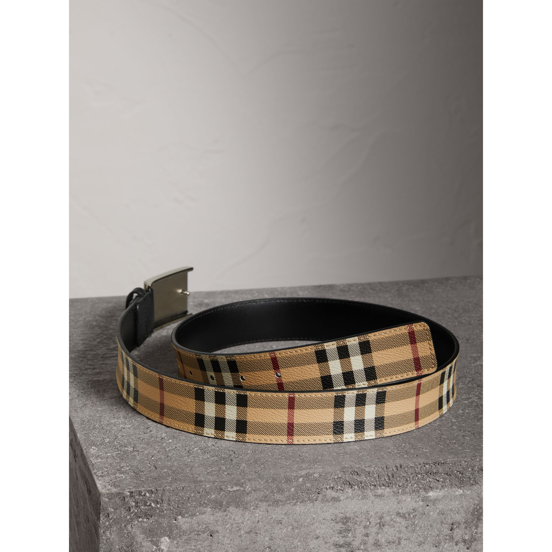 Haymarket Check Belt in Black - Men | Burberry - gallery image 3