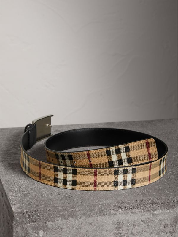 Haymarket Check Belt in Black - Men | Burberry Australia - cell image 2