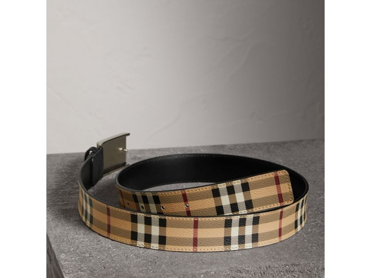 Haymarket Check Belt in Black - Men | Burberry Canada - cell image 2