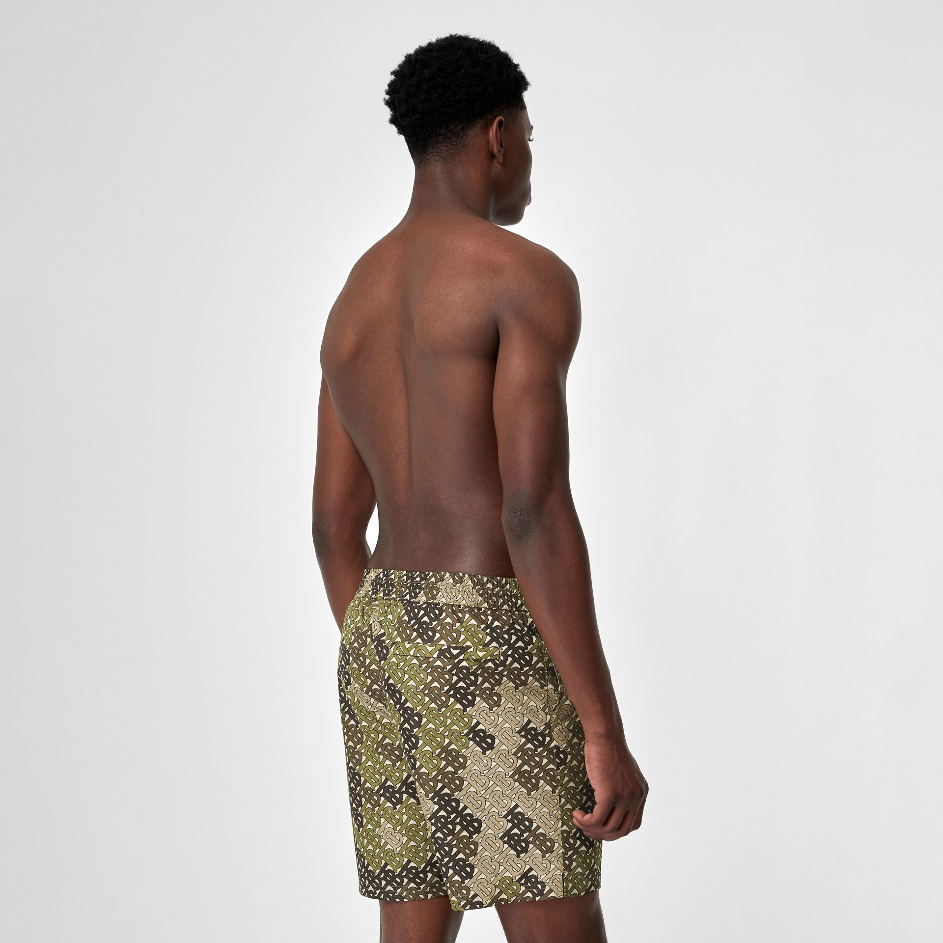 Monogram Print Drawcord Swim Shorts in Khaki Green - Men | Burberry Singapore - gallery image 1