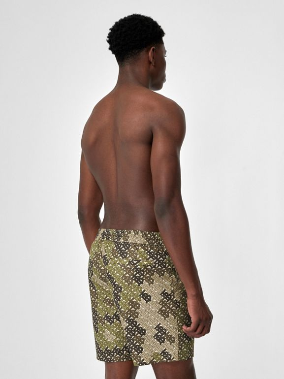 Monogram Print Drawcord Swim Shorts in Khaki Green - Men | Burberry Singapore - cell image 1