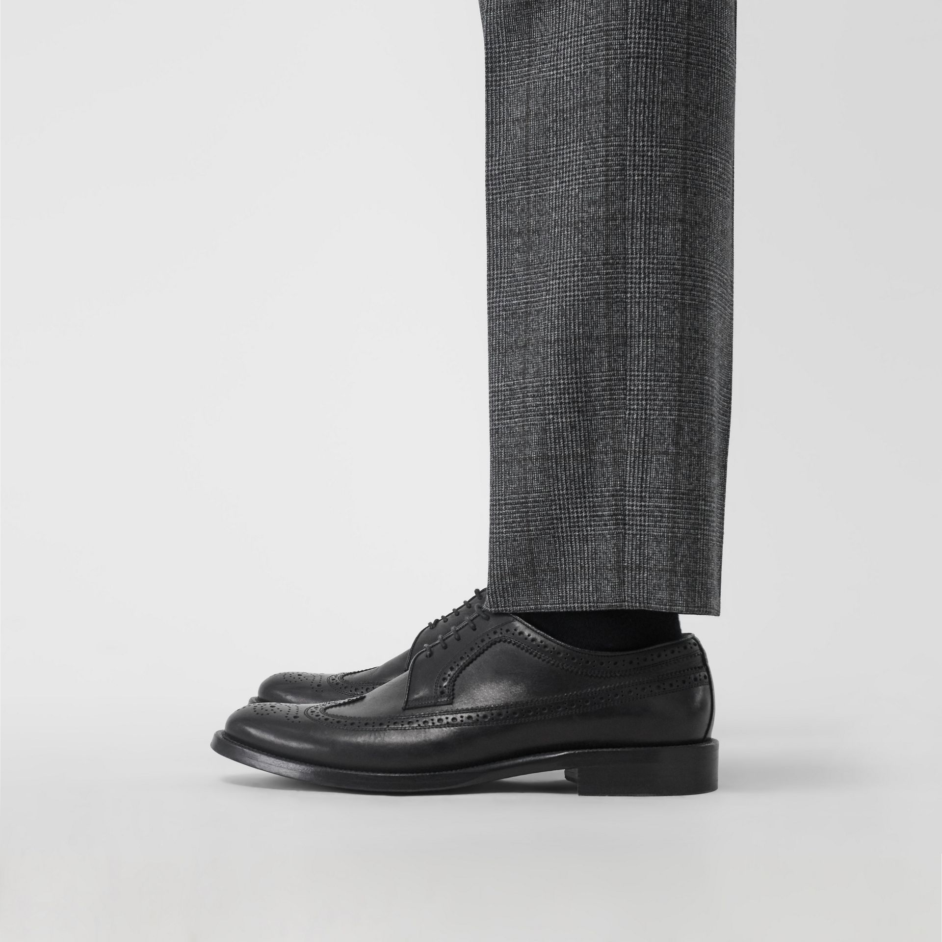 Leather Derby Brogues in Black - Men | Burberry - gallery image 2