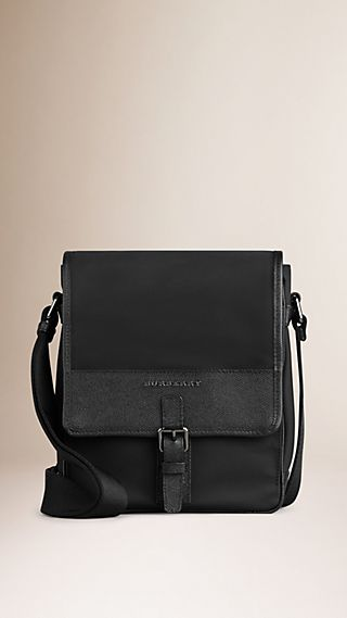 Leather Trim Crossbody Bag