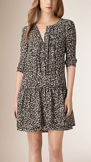 Graphic Print Textured Silk Dress
