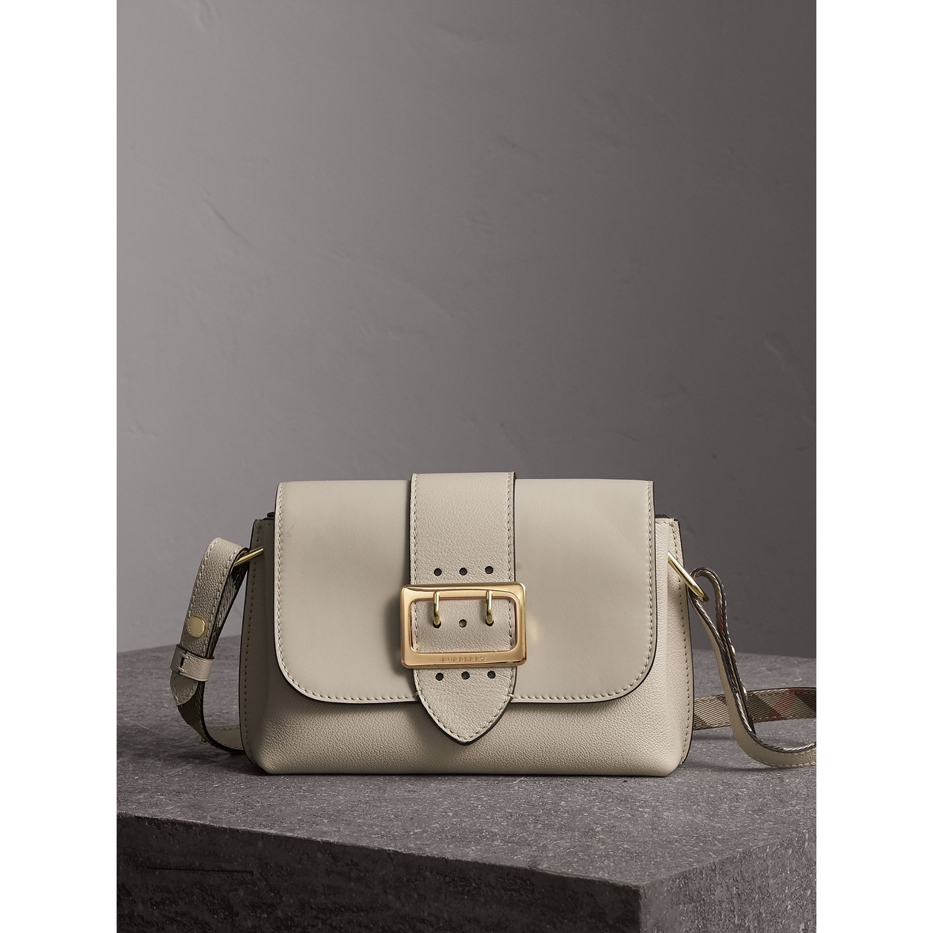 The Buckle Crossbody Bag in Leather in Limestone - Women | Burberry - gallery image 0
