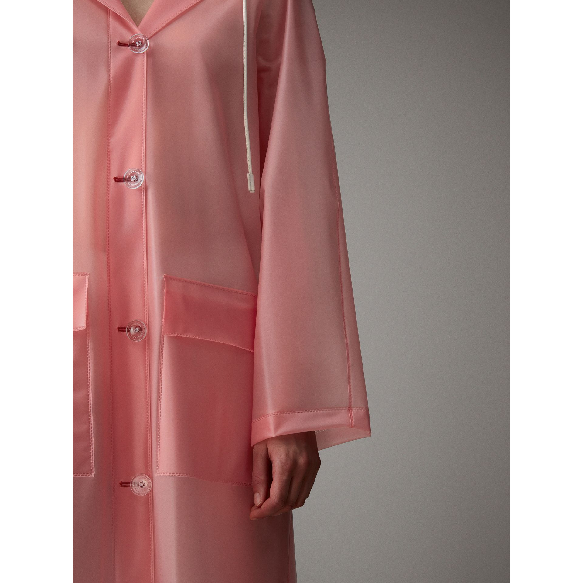 Soft-touch Plastic Hooded Coat in Rose Pink - Women | Burberry United Kingdom - gallery image 5