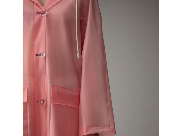 Soft-touch Plastic Hooded Coat in Rose Pink - Women | Burberry - cell image 4