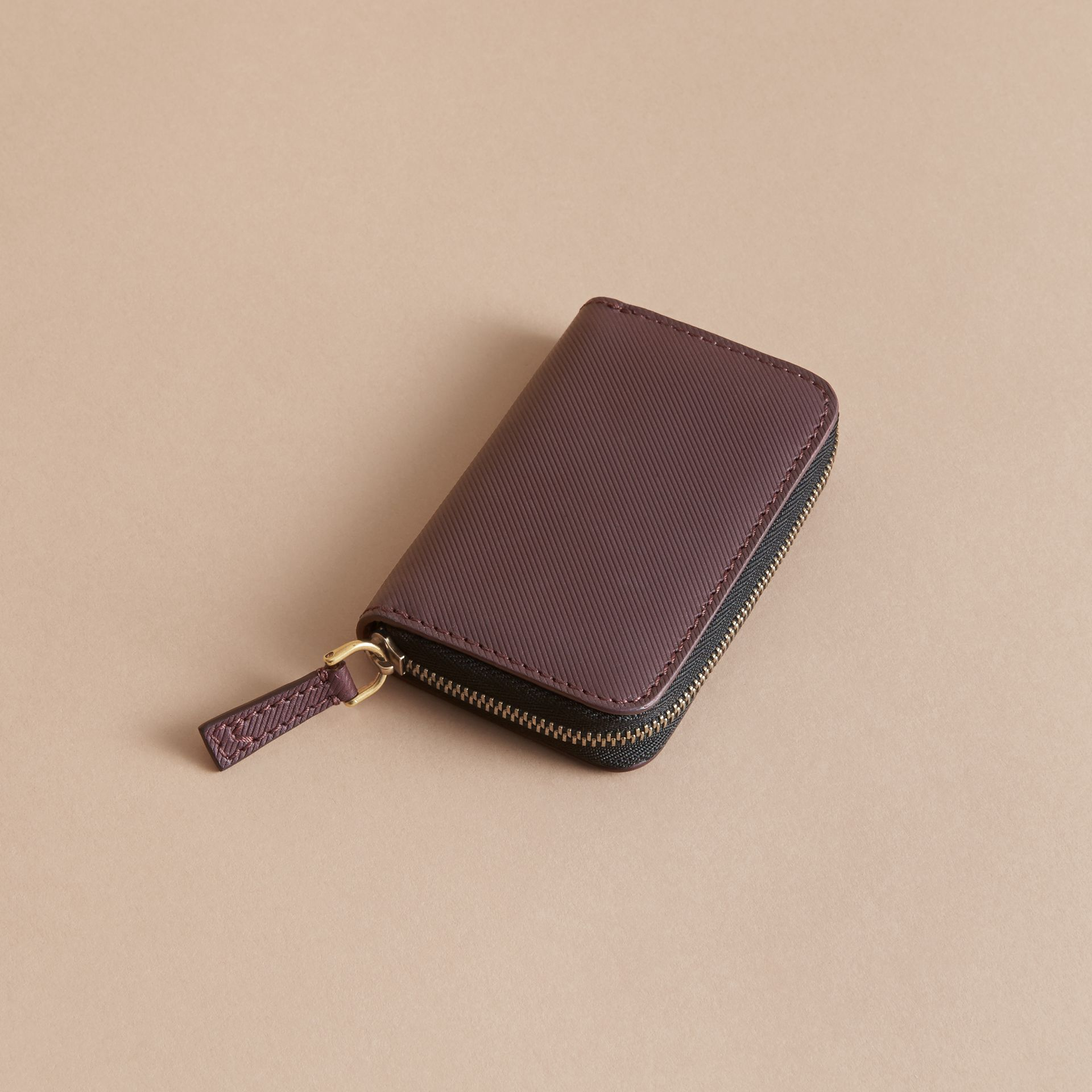Trench Leather Ziparound Coin Case in Wine - Men | Burberry - gallery image 2