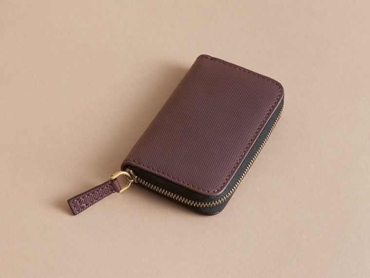 Trench Leather Ziparound Coin Case in Wine - Men | Burberry Australia - cell image 1
