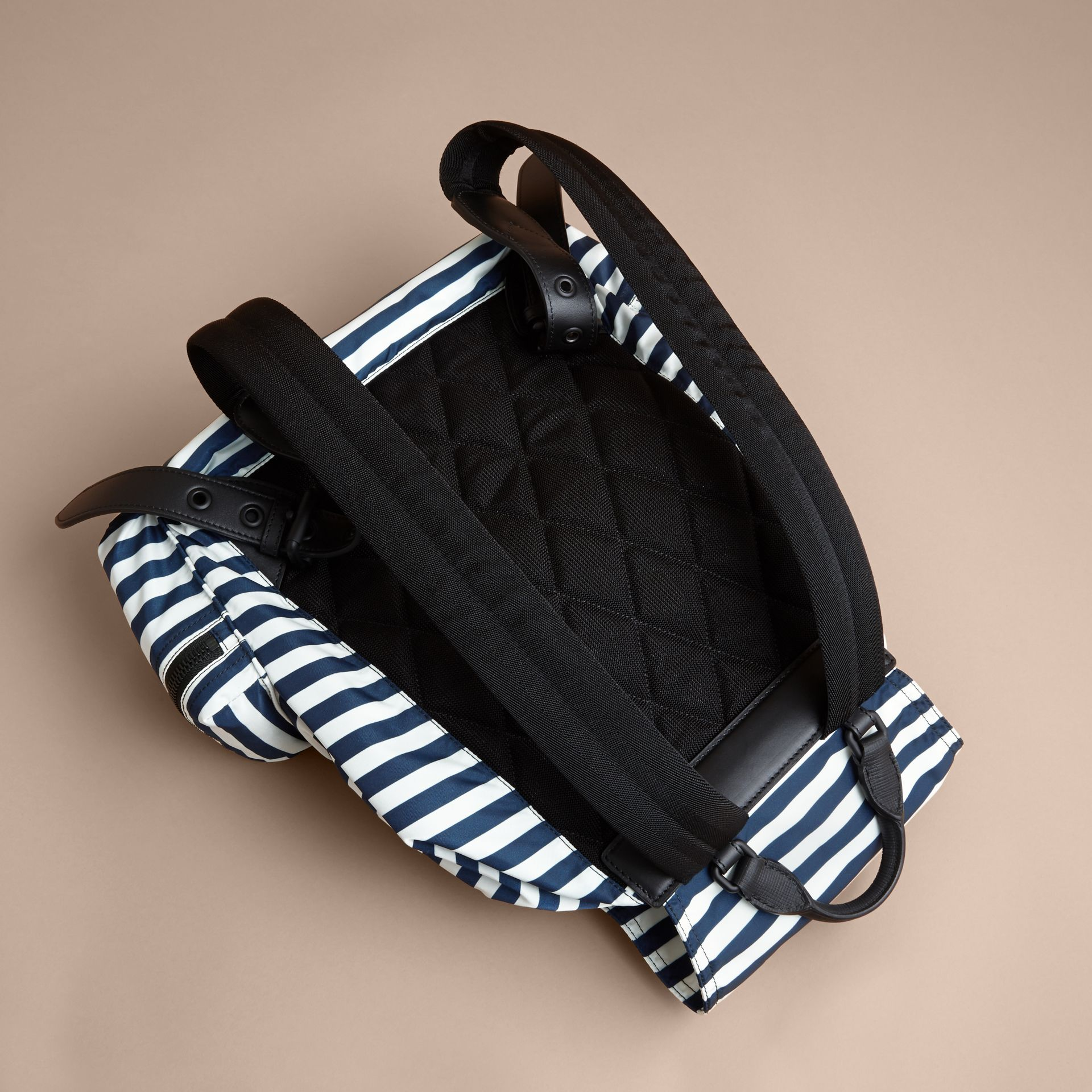 The Large Rucksack in Striped Nylon with Pallas Helmet Motif - gallery image 4
