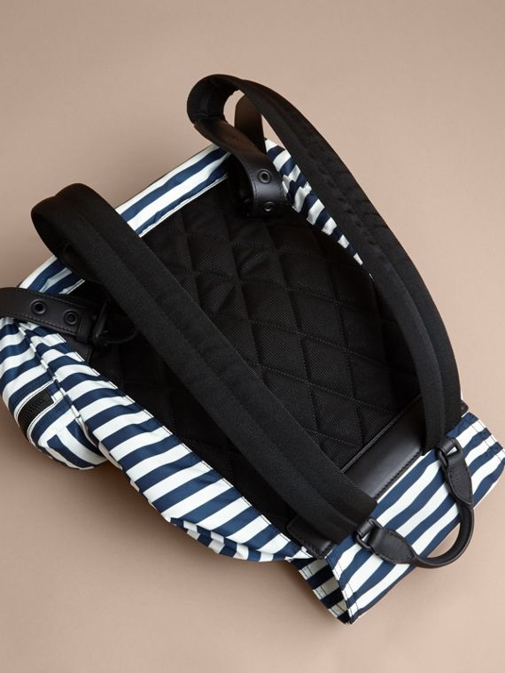 The Large Rucksack in Striped Nylon with Pallas Helmet Motif - cell image 3