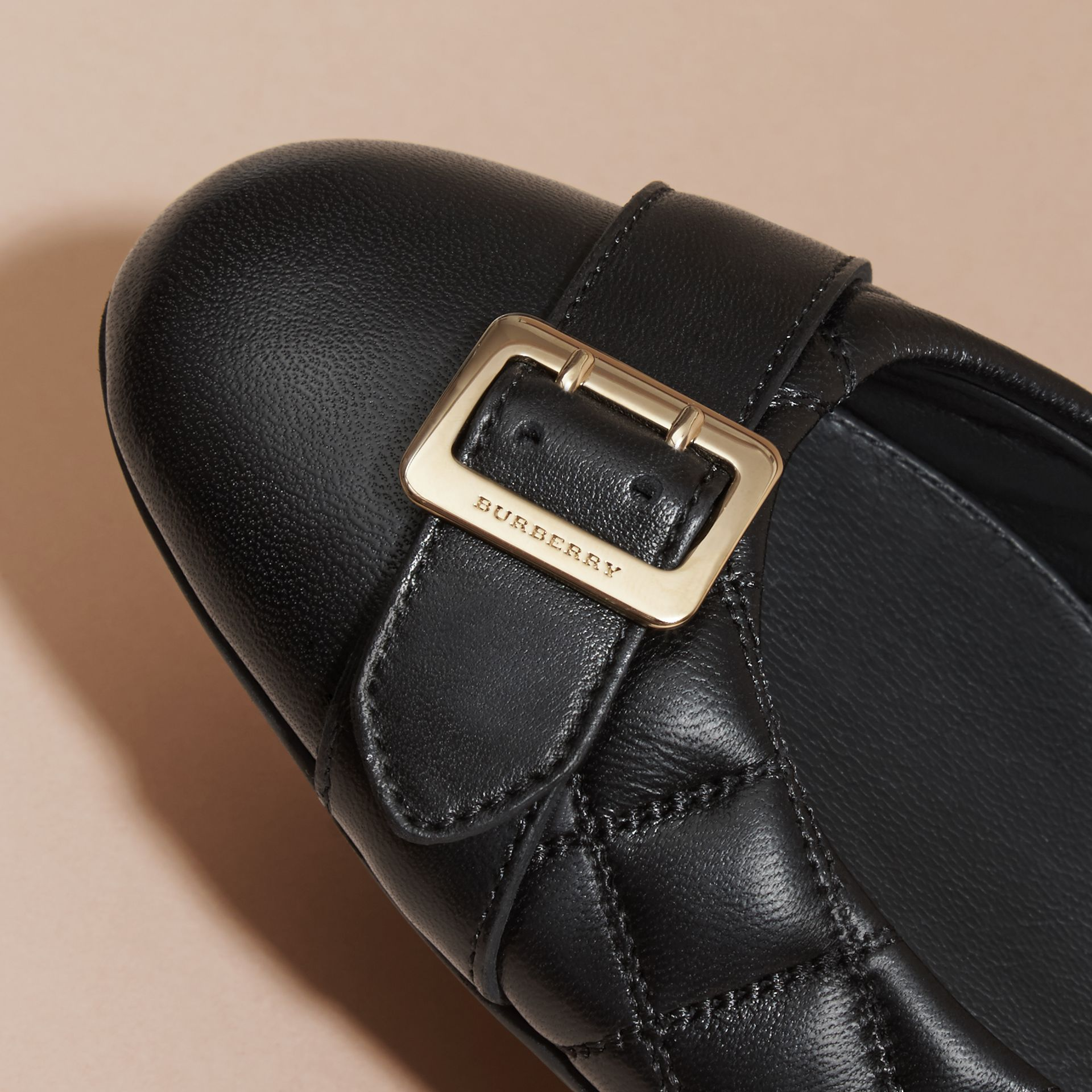 Black Buckle Detail Quilted Lambskin Ballerinas - gallery image 2