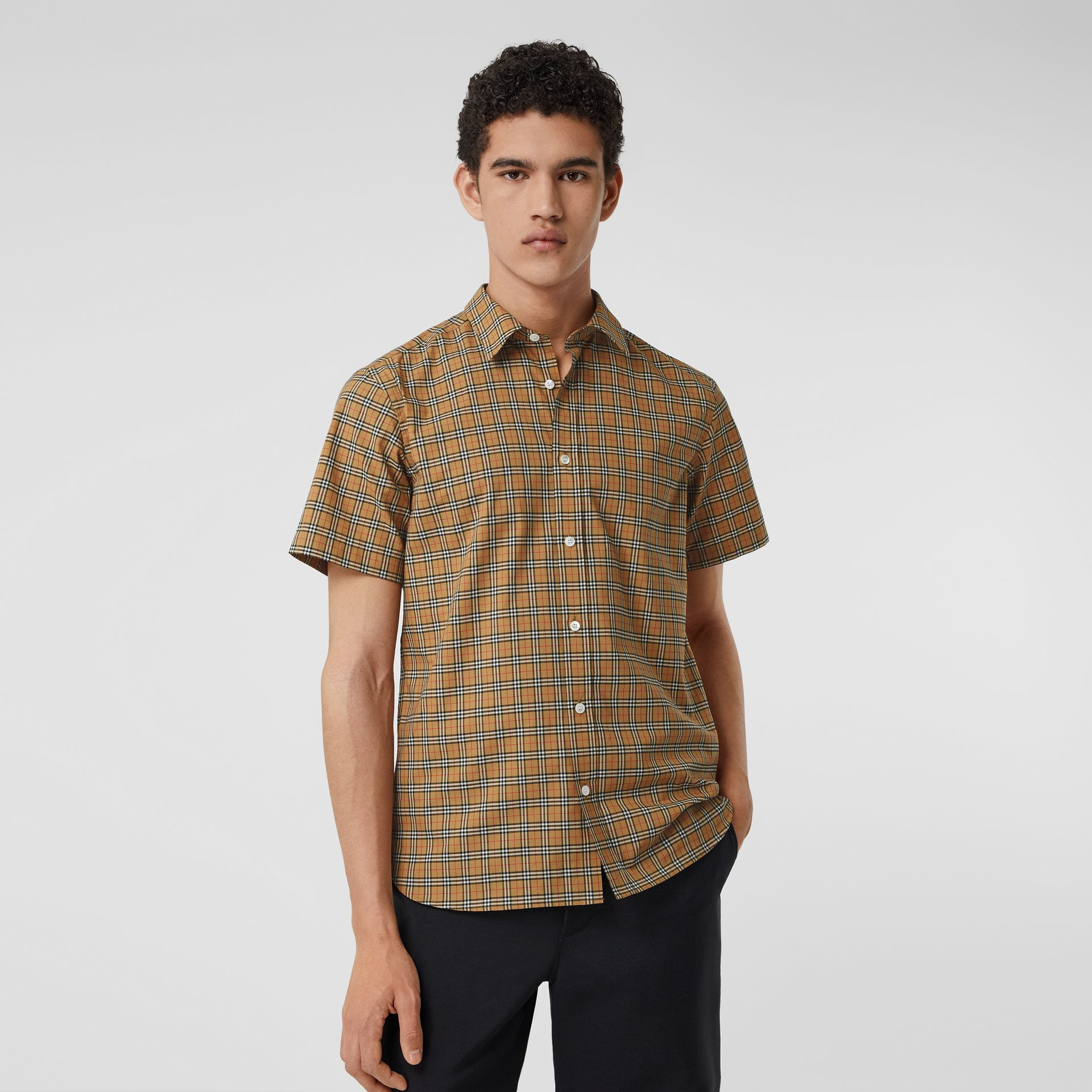 Short-sleeve Check Cotton Shirt in Antique Yellow - Men | Burberry - gallery image 4