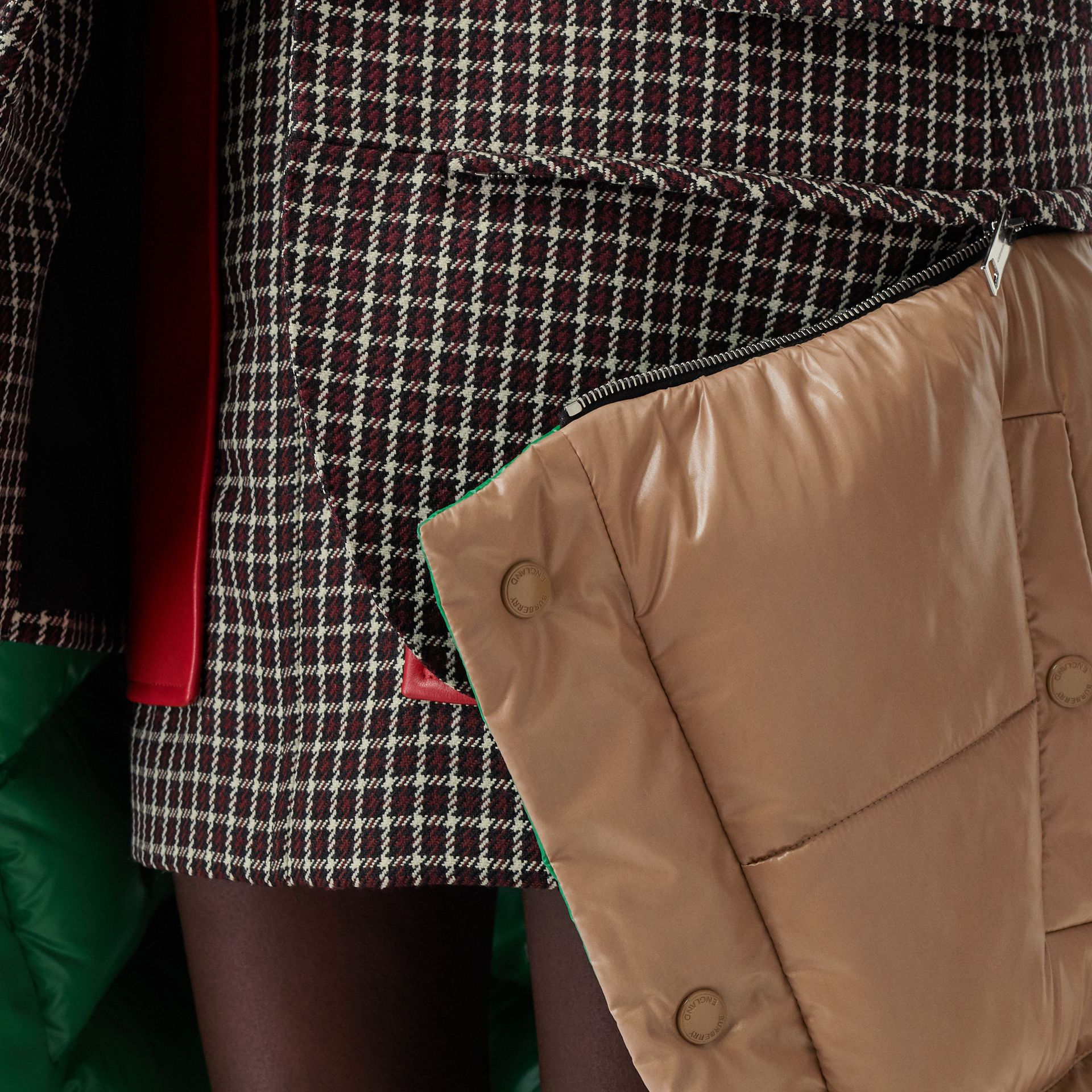 Tartan Wool Tailored Jacket with Detachable Gilet in Bordeaux - Women | Burberry United Kingdom - gallery image 8