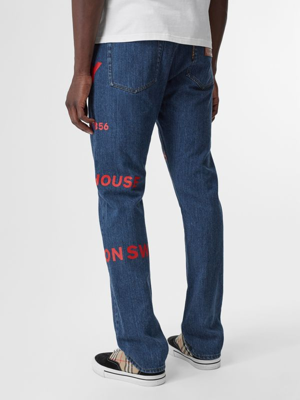 Straight Fit Horseferry Print Japanese Denim Jeans in Mid Indigo Blue - Men | Burberry Australia - cell image 2
