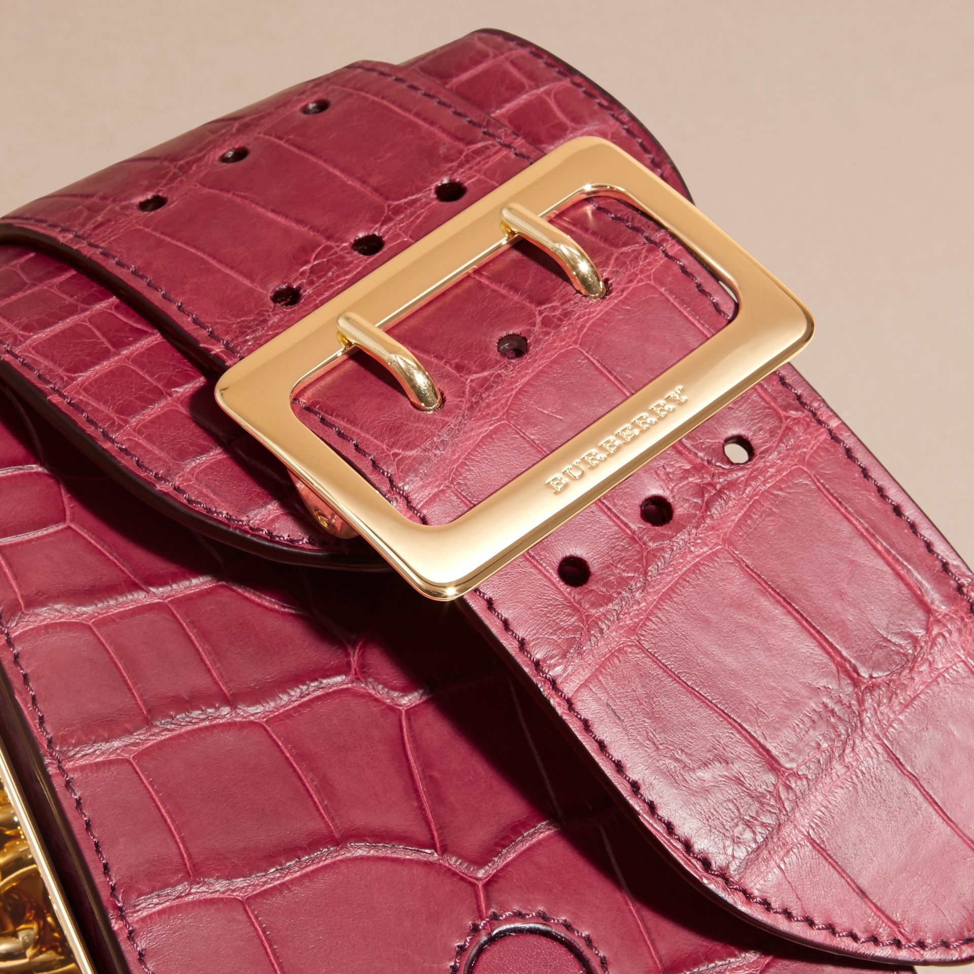 Alizarin crimson The Buckle Bag – Oblong in Alligator - gallery image 2