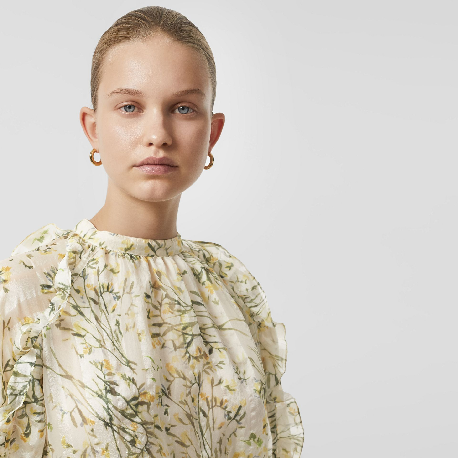 Ruffle Detail Floral Silk Blend Blouse in Lawn Green - Women | Burberry Australia - gallery image 1