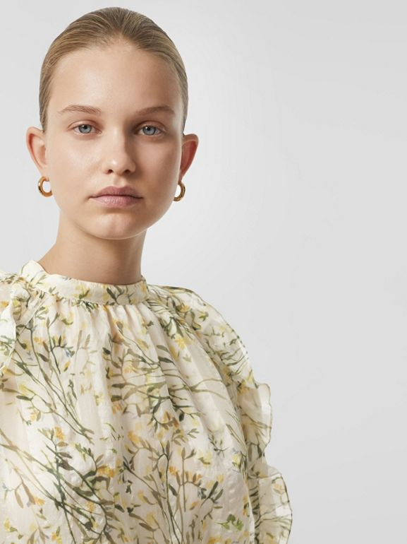 Ruffle Detail Floral Silk Blend Blouse in Lawn Green - Women | Burberry - cell image 1