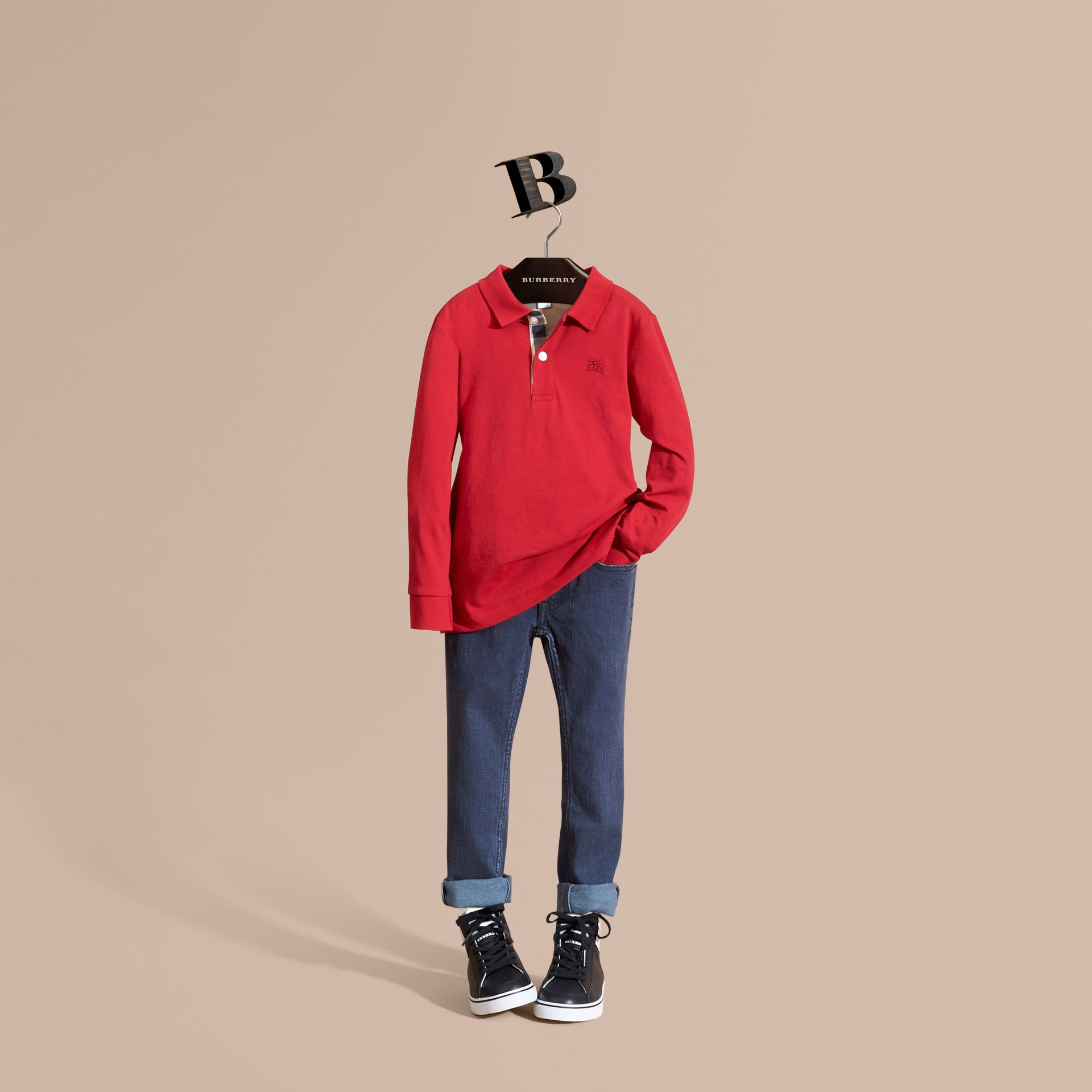 Long-sleeve Cotton Jersey Polo Shirt in Military Red - Boy | Burberry - gallery image 1