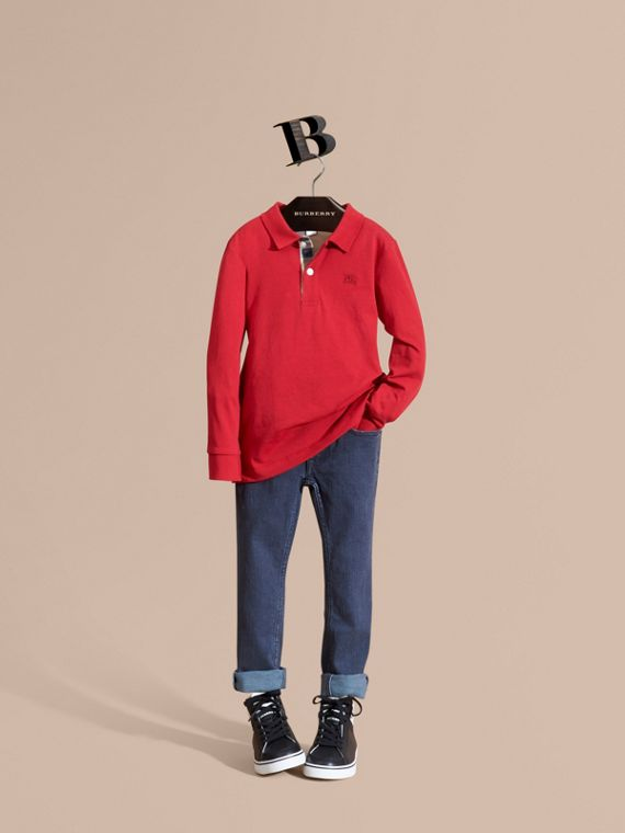 Long-sleeve Cotton Jersey Polo Shirt in Military Red