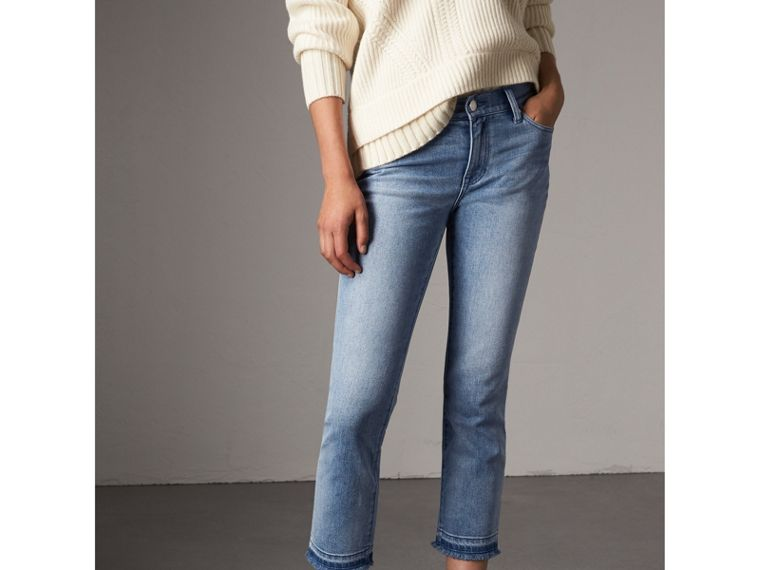 Slim Fit Frayed Cropped Jeans in Pale Blue - Women | Burberry Singapore - cell image 4