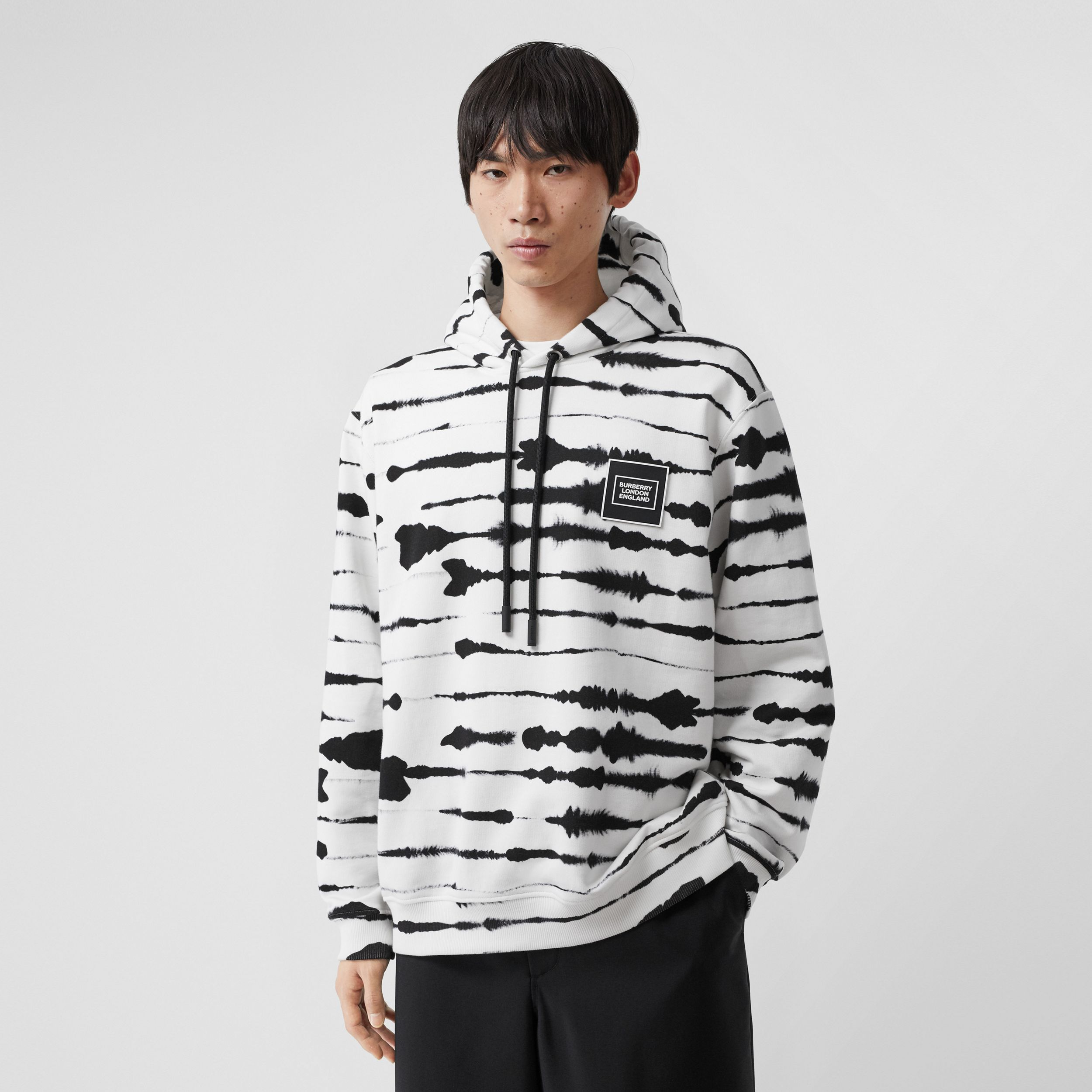 Logo Appliqué Watercolour Print Cotton Hoodie in Monochrome - Men | Burberry - 1