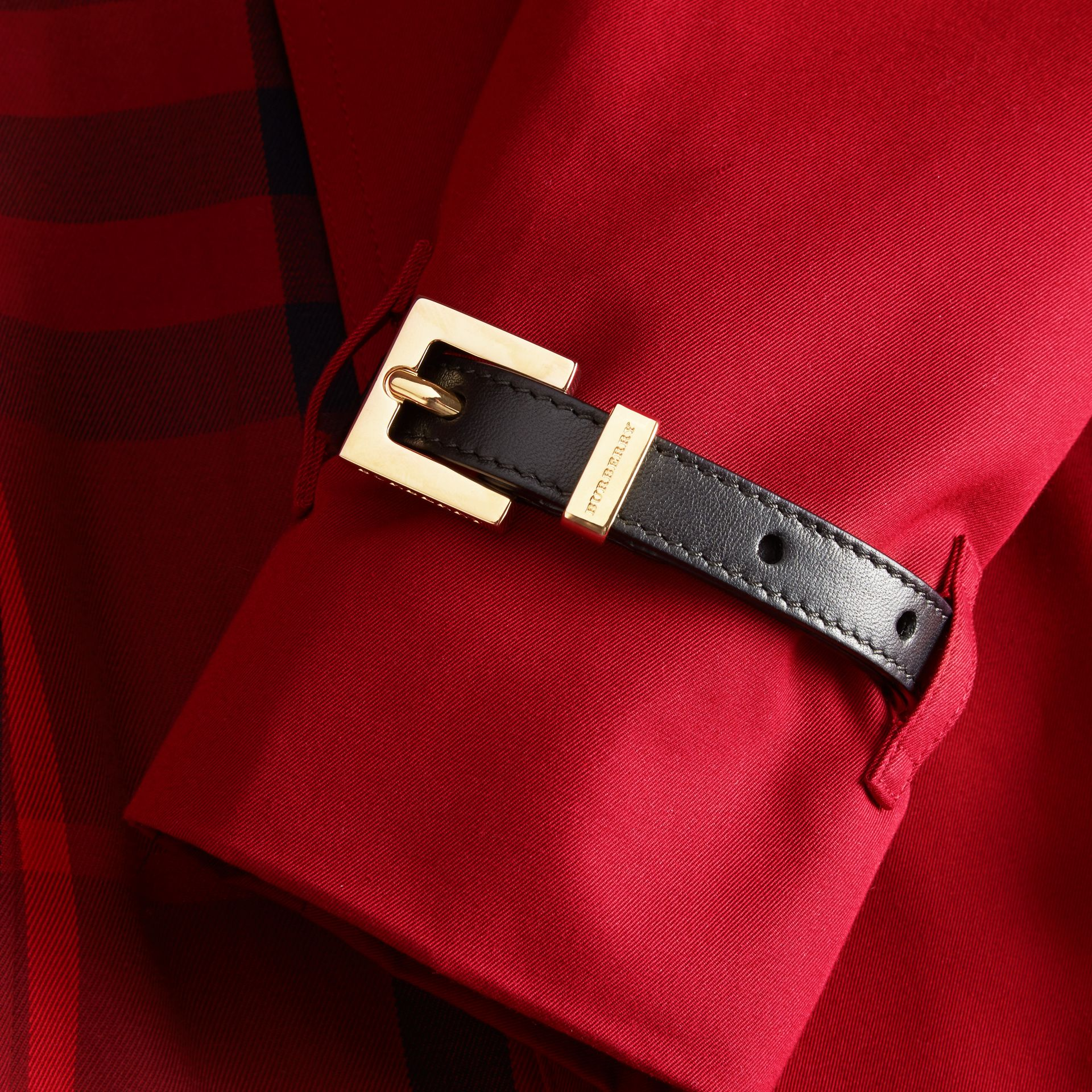 Leather Trim Cotton Gabardine Trench Coat Parade Red - gallery image 2