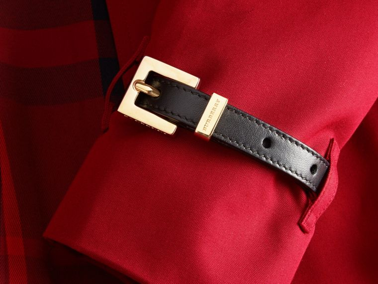 Parade red Leather Trim Cotton Gabardine Trench Coat Parade Red - cell image 1