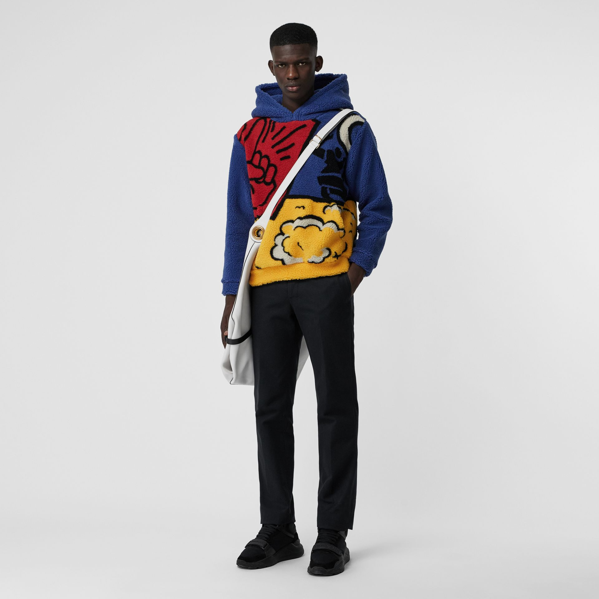 Poster Graphic Fleece Jacquard Hoodie in Amber Yellow - Men | Burberry United States - gallery image 0