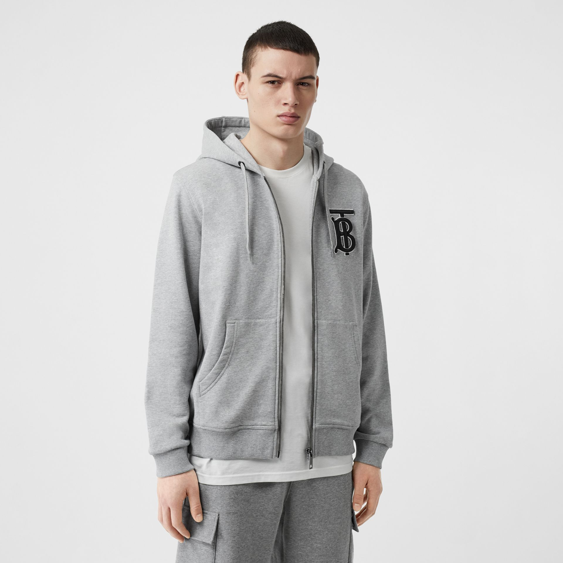 Monogram Motif Cotton Hooded Top in Pale Grey Melange - Men | Burberry - gallery image 3