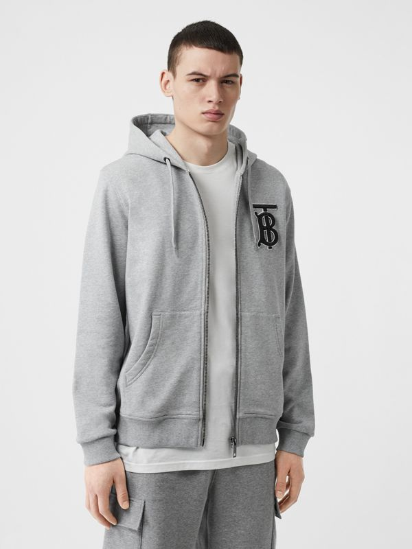 Monogram Motif Cotton Hooded Top in Pale Grey Melange - Men | Burberry - cell image 3