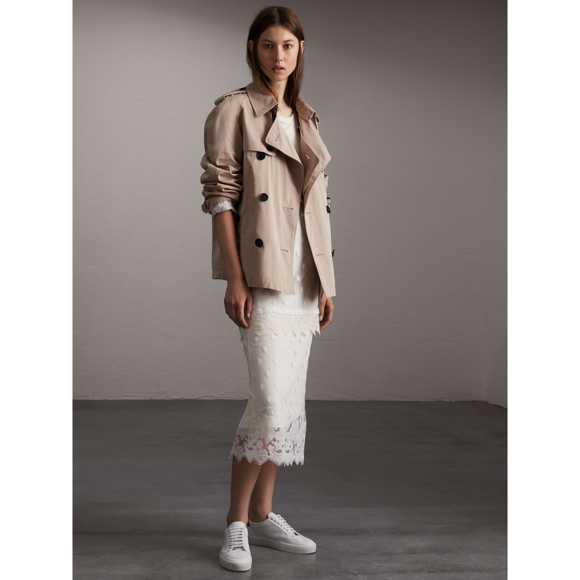 Unisex Tropical Gabardine Trench Jacket in Light Taupe - Women | Burberry - gallery image 1