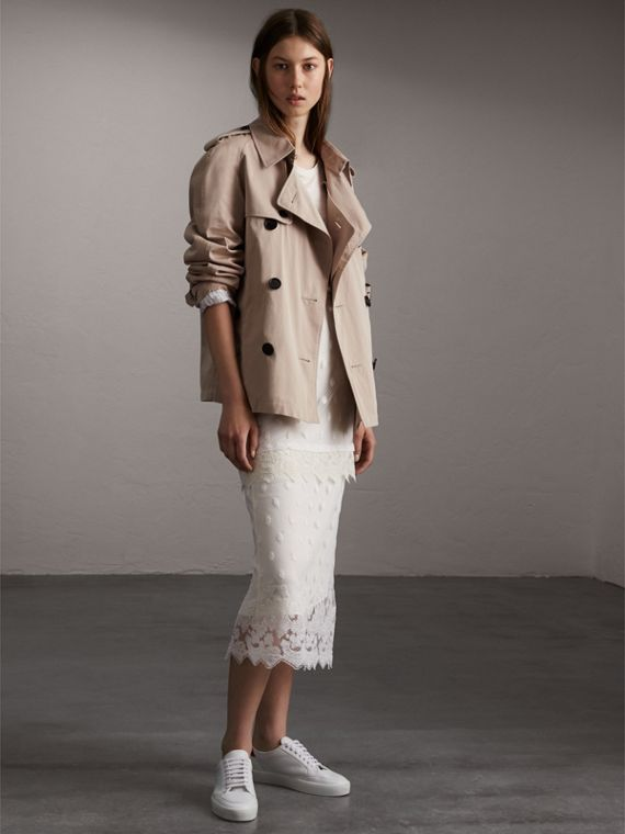 Unisex Tropical Gabardine Trench Jacket in Light Taupe