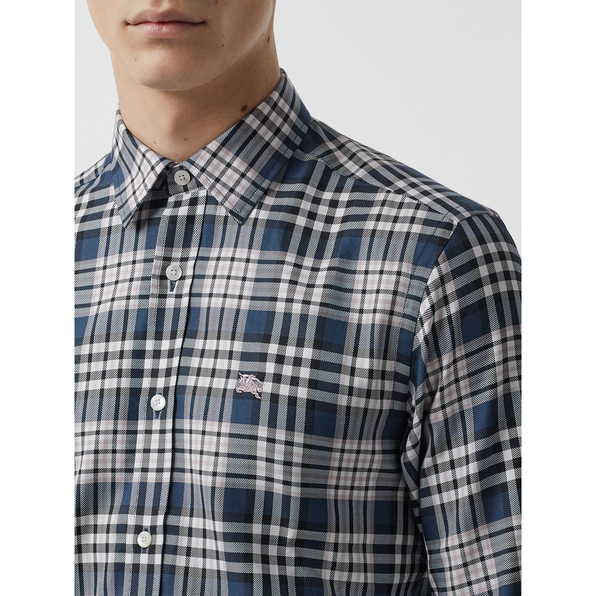Check Cotton Shirt in Pewter Blue - Men | Burberry United States - gallery image 1
