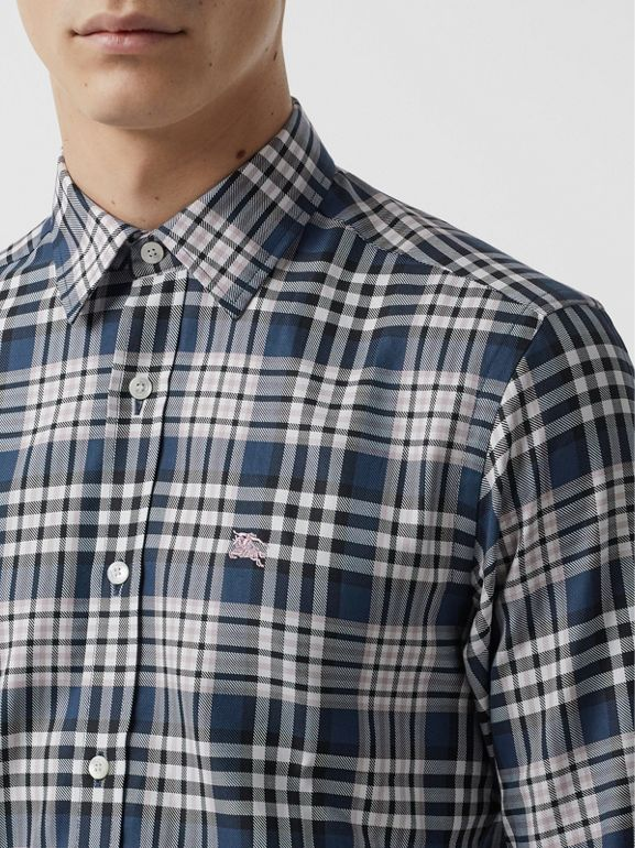 Check Cotton Shirt in Pewter Blue - Men | Burberry United States - cell image 1
