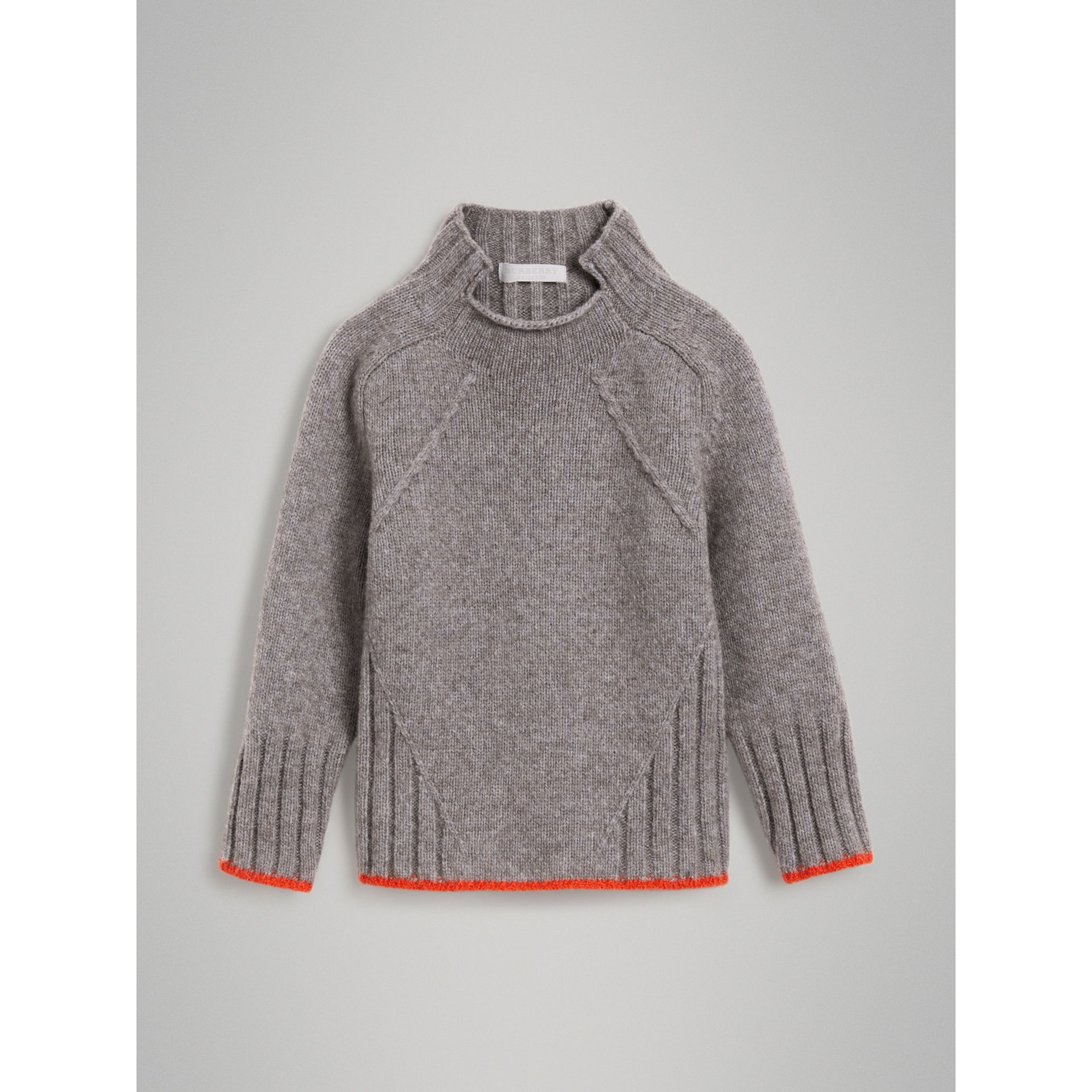 Merino Wool Blend Turtleneck Sweater in Mid Grey - Girl | Burberry United Kingdom - gallery image 0