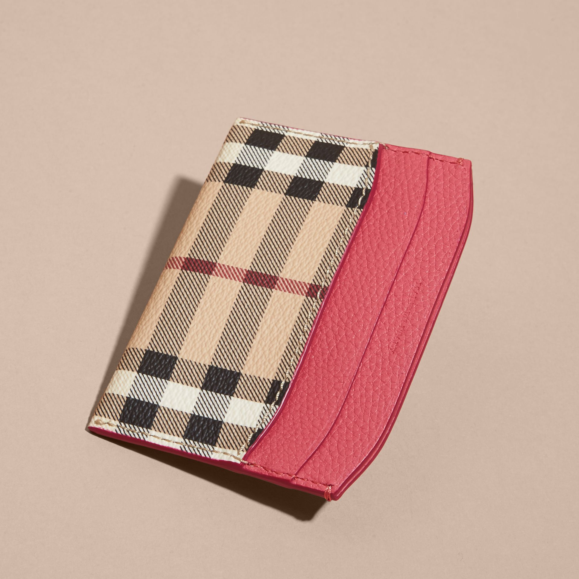 Haymarket Check and Leather Card Case in Plum Pink - Women | Burberry - gallery image 4