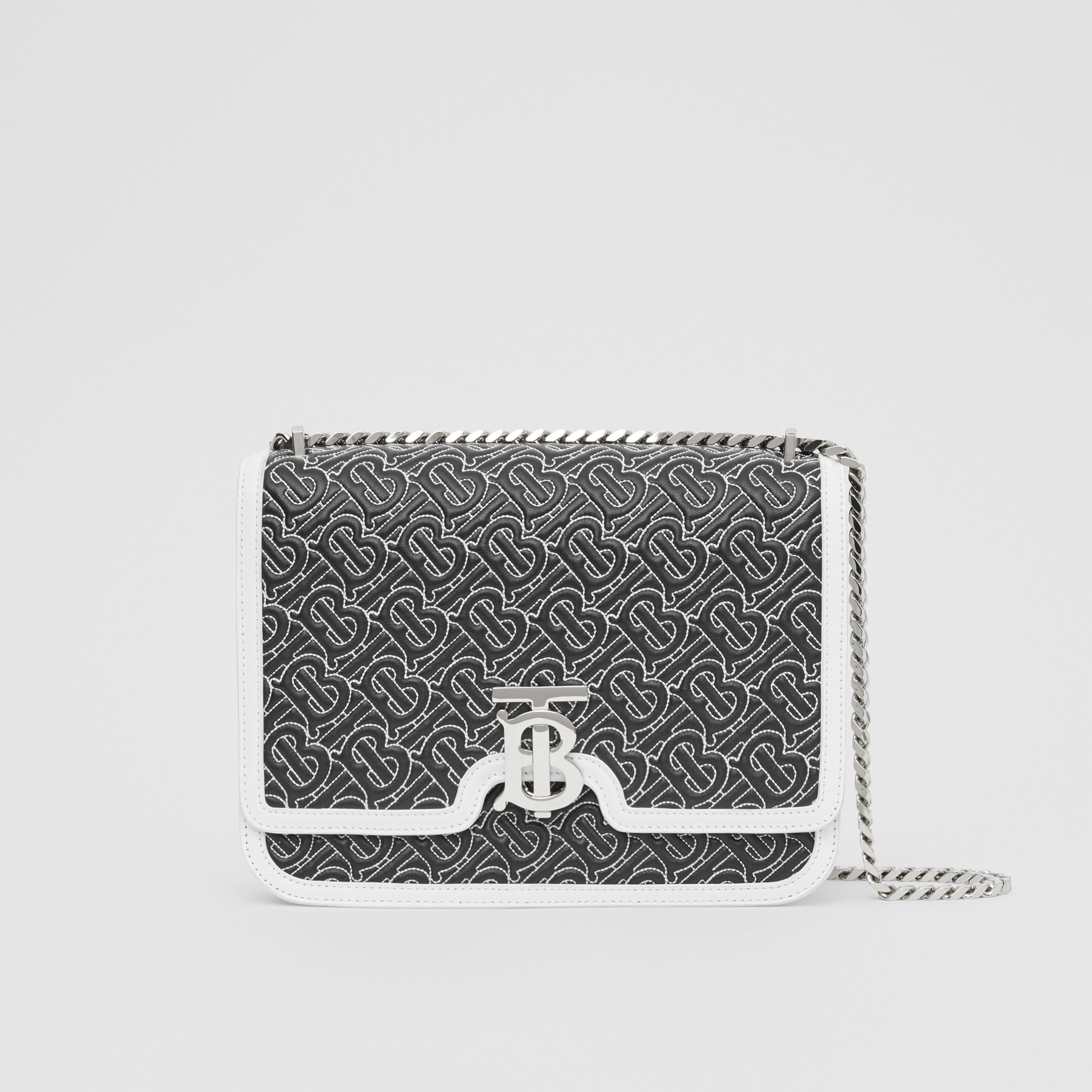 Medium Quilted Monogram Lambskin TB Bag in Black - Women | Burberry - 1