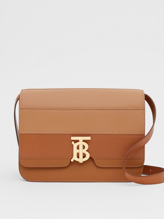 Medium Panelled Leather TB Bag in Maple