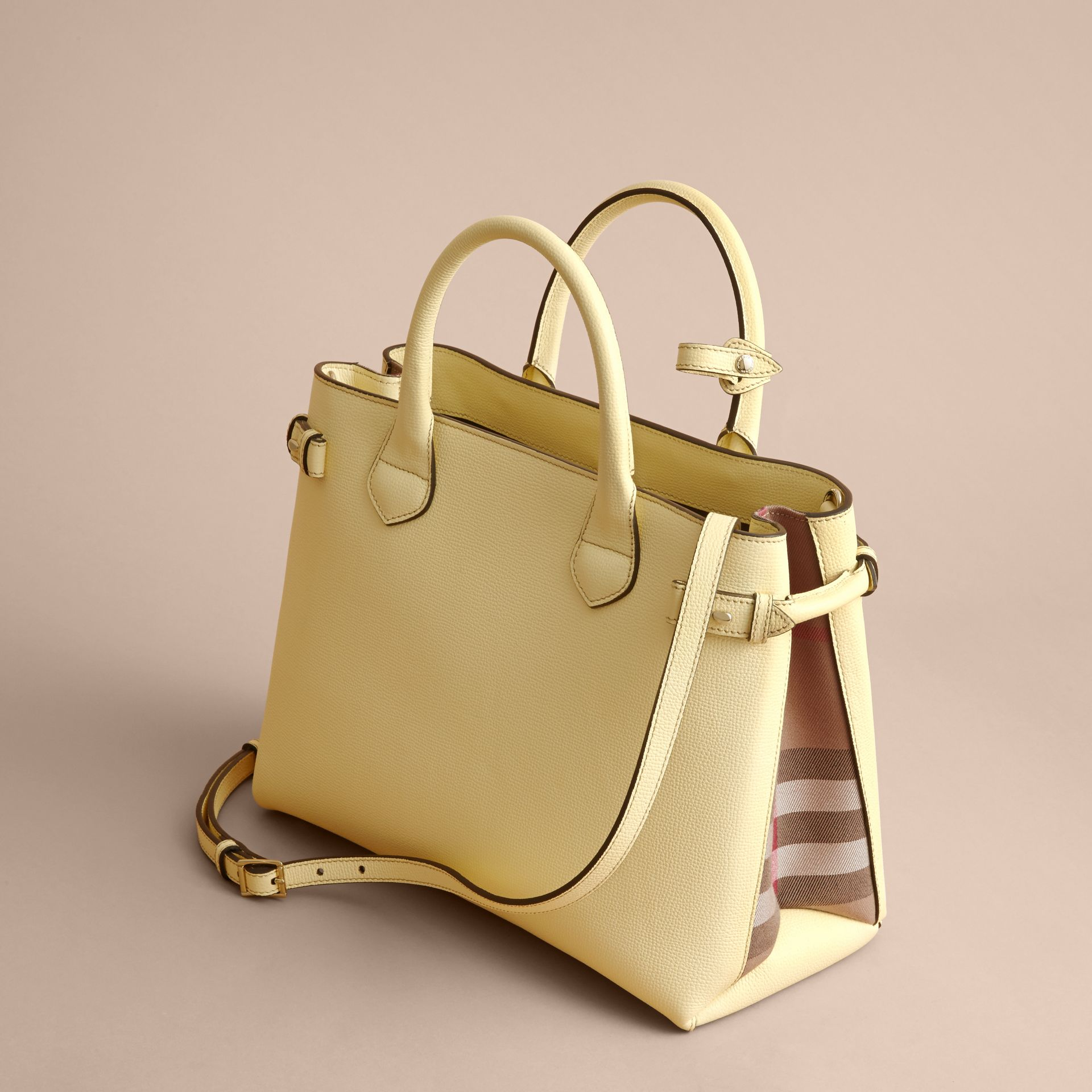 The Medium Banner in Leather and House Check in Camomile Yellow - Women | Burberry - gallery image 5