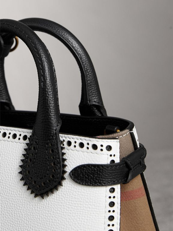 The Baby Banner in Brogue Detail Leather in Chalk White/black - Women | Burberry - cell image 1