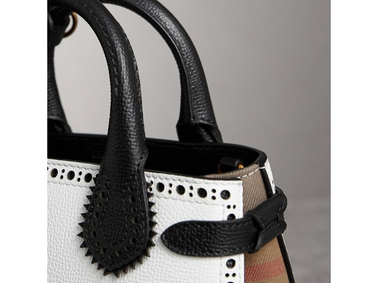 The Baby Banner in Brogue Detail Leather in Chalk White/black - Women | Burberry Australia - cell image 1