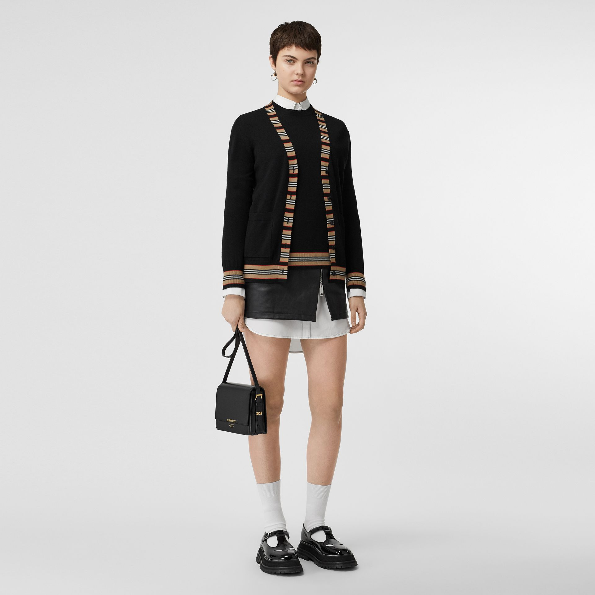 Icon Stripe Detail Merino Wool Cardigan in Black - Women | Burberry Canada - gallery image 0
