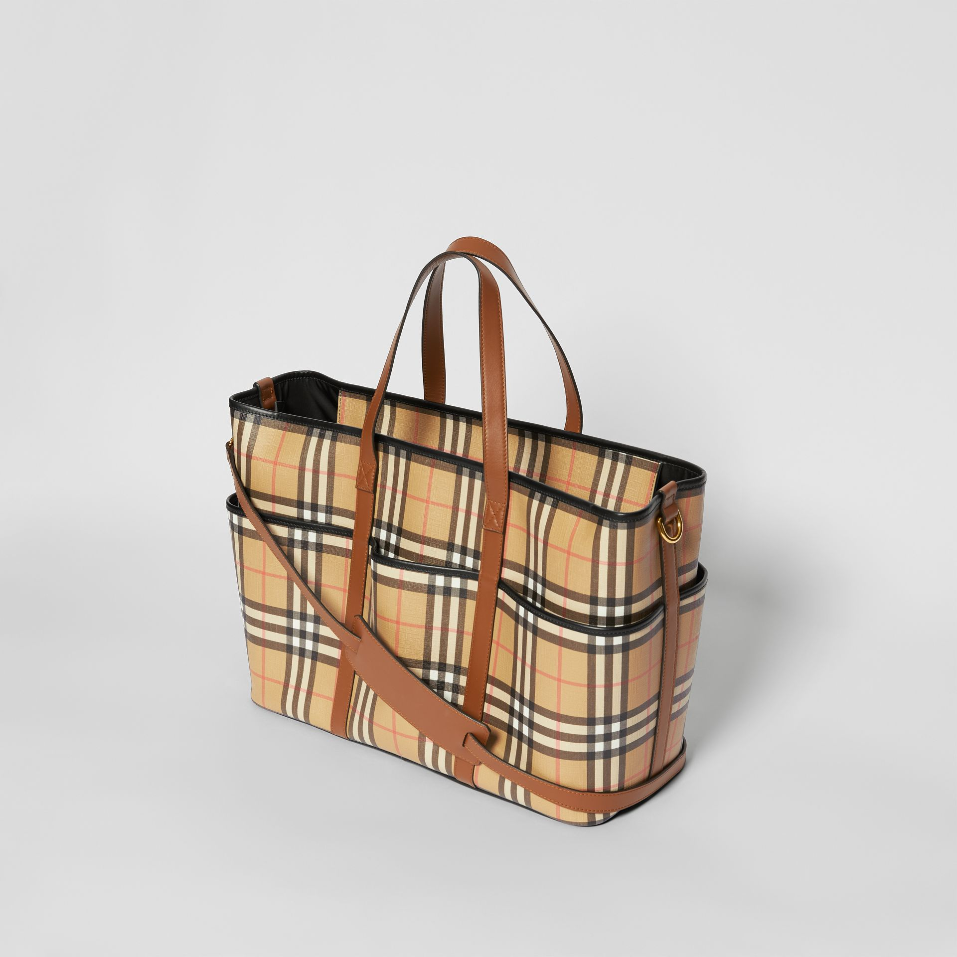 Vintage Check E-canvas Baby Changing Bag in Archive Beige - Children | Burberry United States - gallery image 2